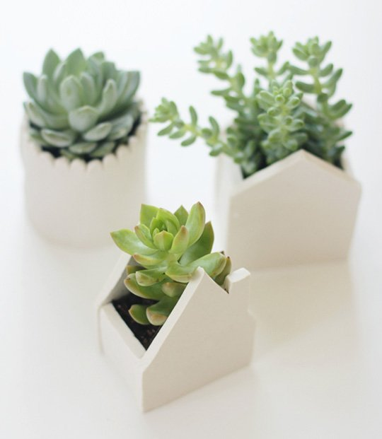modern house shaped planters