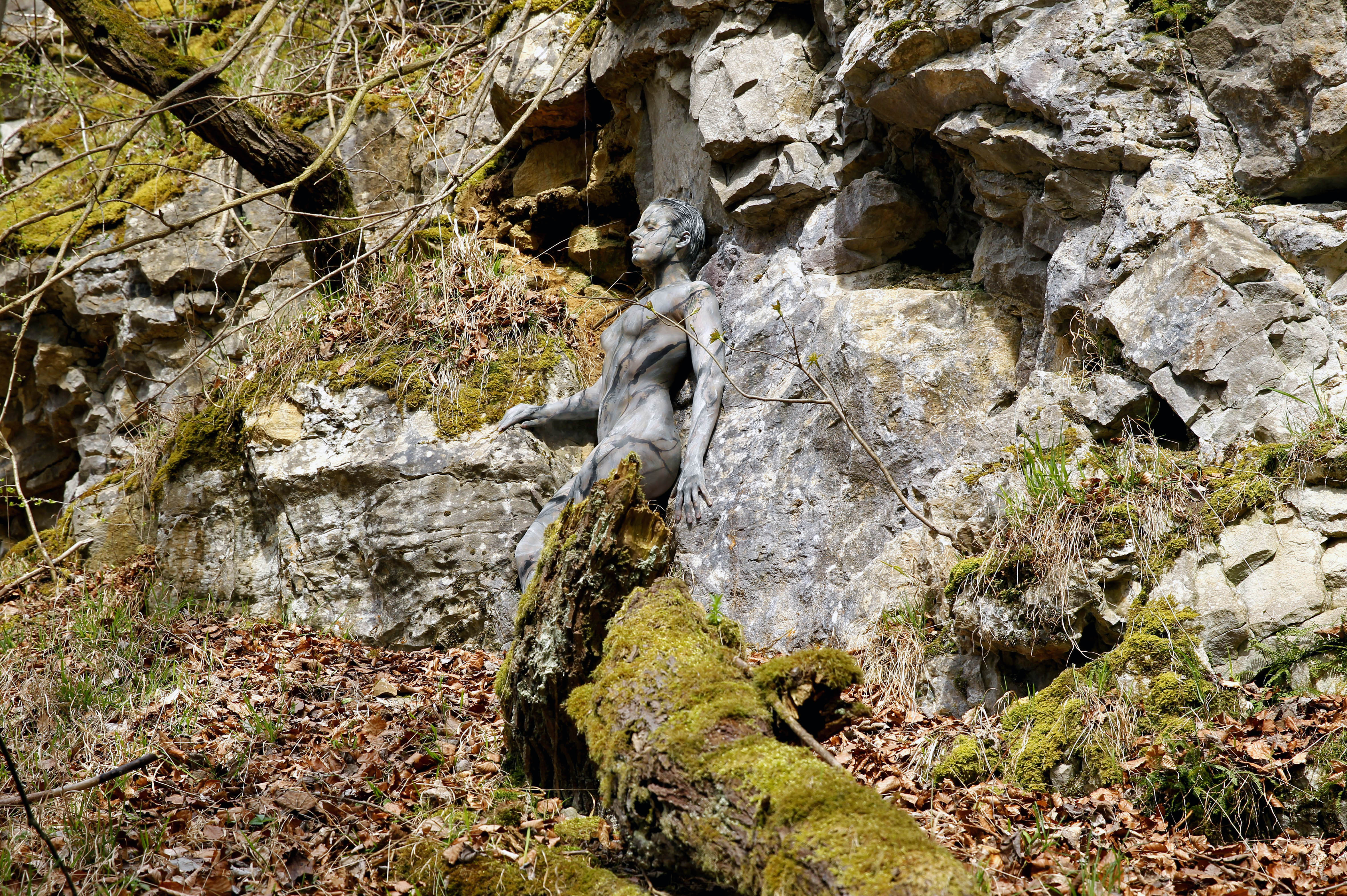 German body-painting artist Joerg Duesterwald's 'Rock Face'