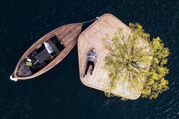 Isle Go: Floating Islands Buoy Copenhagen Harbor
